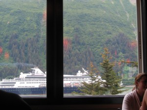 Inside the Pub, we are looking out onto Gastineau Channel - one of 5 cruise ships leaving